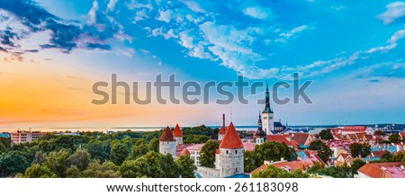 Panorama Panoramic Scenic View Landscape Old City Town Tallinn In Estonia - stock photo