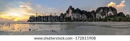 Panorama Perfect tropical bay on Railay beach in Krabi Thailand , Asia. - stock photo