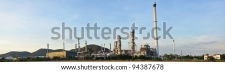 Panorama petrochemical plant - stock photo
