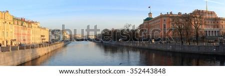 Panorama Petrograd canal at sunset. Saint-Petersburg, Russia. - stock photo