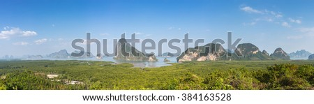 Panorama, Phang nga, Sa-met-nang-she Viewpoint, Mountain in Sea, Thailand - stock photo