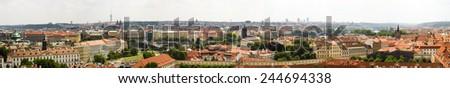 Panorama photo of Prague, capital of Czech republic during daylight on summer - stock photo