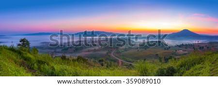 Panorama picture of beautiful sunrise, road and mountains at Khao-kho, Phetchabun,Thailand. - stock photo
