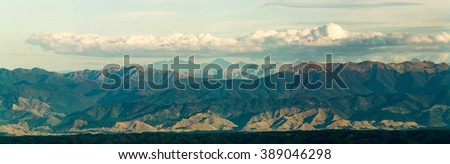 panorama picture of rocky mountains in new zealand kahurangi national park - stock photo
