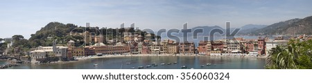 panorama picture of sestri-levante - stock photo