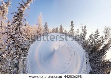panorama planet landscape winter trees - stock photo