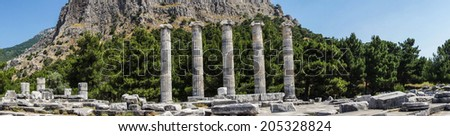 Panorama, remaining columns of the ancient Greek agora in  Priene,  Turkey
