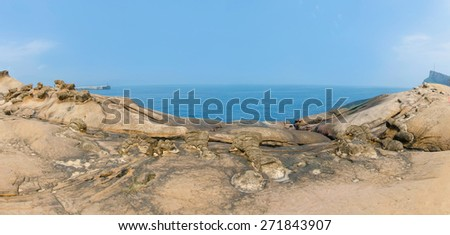 Panorama rock formations natural landscape in Yehliu Geopark, Taiwan.