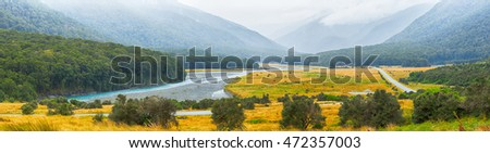 Panorama rural picturesque landscape with river in New Zealand