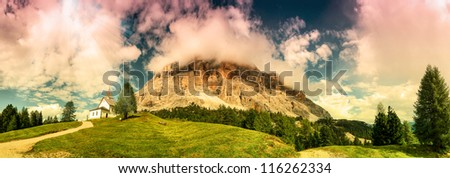 Panorama Santa Croce church, San Leonardo in the Dolomites, Italy - stock photo