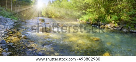 panorama scene in Bavaria with river Loisach in canyon