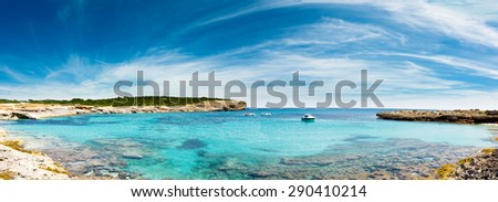 Panorama sea lagoon in Mallorca - stock photo