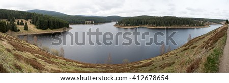 Panorama shot of a Reservoir in highlands - stock photo
