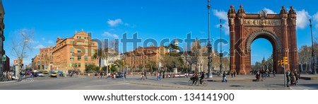 Panorama shot of Triumph Arc in Barcelona, Spain - stock photo