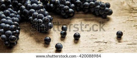 Panorama size, lots of blue grapes on wooden table, concept wine and grape juice