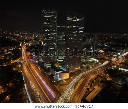 Panorama. Skyscrapers in the center of Tel Aviv - stock photo