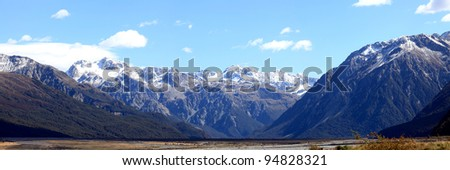 Panorama southern alpine alps mountain range Arthur's pass National Park New Zealand - stock photo