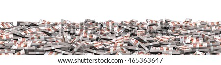 Panorama stacks Russian rubles / 3D illustration of panoramic stacks of Russian five thousand ruble notes
