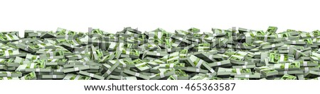 Panorama stacks South Korean won / 3D illustration of panoramic stacks of South Korean ten thousand won notes
