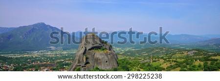 Panorama. Summer Mountain landscape. Meteora, Greece - stock photo