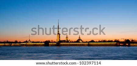 Panorama - Sunset in the city with a fortress (Saint-Petersburg, Russian Federation) - stock photo