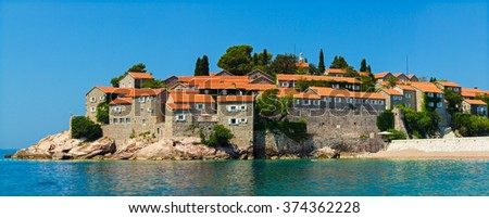 Panorama Sveti Stefan  , Montenegro. Island Saint Stephane's hotel - stock photo