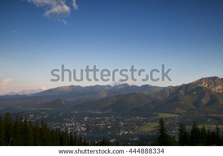 Panorama Tatra Mountains at sunset
