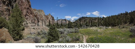 Panorama, valley floor of the Crooked River  near Smith Rock State Park, Central Oregon  - stock photo