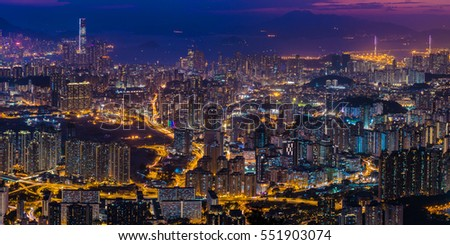 Panorama view after sunset on Kowloon Peak, Hong Kong