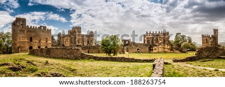 Panorama view at the Fasilides castle in Gondar.
