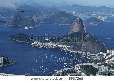 Panorama view from Corcovado hill to Rio de Janeiro and Sugar Loaf - stock photo