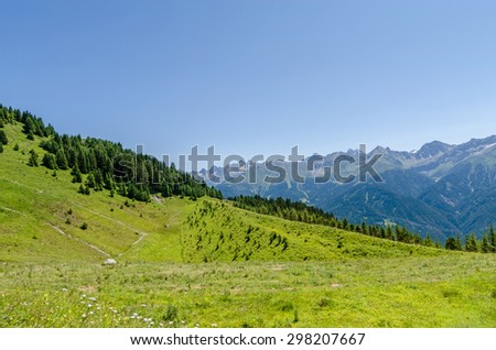 panorama view from mountain top to valley in serfaus, fiss, ladis area in tyrol, austria