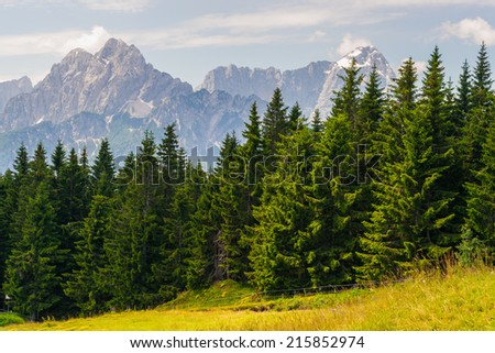 Panorama view from Mt. Dreilaendereck at the border of Austria, Italy and Slovenia - stock photo