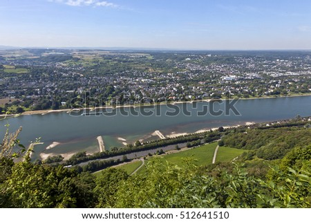 Panorama View from the Drachenburg to the River Rhine; Rhineland, Germany, Europe