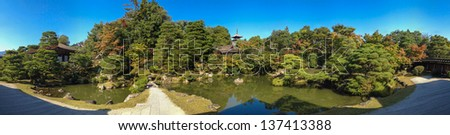 Panorama view Ninnaji temples in Kyoto. Ninnaji  is one of the many great temples in Kyoto which are listed as World Heritage Sites. - stock photo