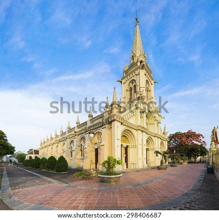 Panorama view of a commune church in Kim Son district, Ninh Binh province, Vietnam. The building is a travel destination for tourist visiting Ninh Binh