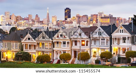 Panorama view of Alamo Square at sunset. During twilight time - stock photo