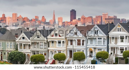 Panorama view of Alamo square with sunset light on the background. San Francisco, USA - stock photo