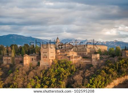 Panorama view of Alhambra palace, Granada, Spain - stock photo