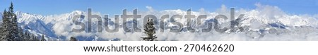 panorama view of Alps in winter - stock photo