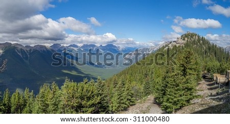 Panorama view of Banff National Park from Sulphur Mountain.  - stock photo