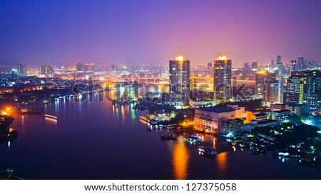 Panorama view of Bangkok city scape at nighttime - stock photo
