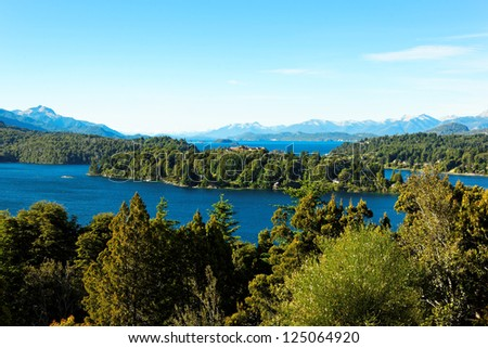 Panorama view of Bariloche and its lake, Argentina, South America