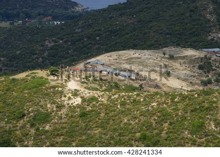 Panorama view of bay at Greece, Aegean coast in Greece top view, view from the mountains to the coast, rocky coastline, mountain and sea view - stock photo