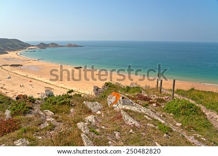 Panorama View of Beautiful Beach on a Tropical Climate, Emphasizing Turquoise Sea Water - stock photo