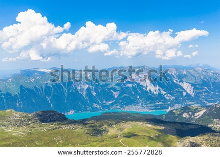 Panorama view of Brienz Lake and Alps on top of Faulhorn, Switzerland - stock photo