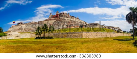 Panorama view of Castillo San Felipe Barajas, impressive fortress located in Lazaro hill, Cartagena de Indias, Colombia - stock photo