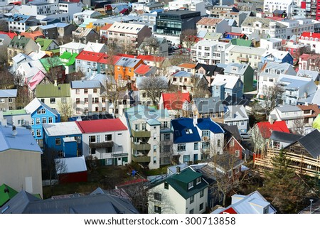 Panorama view of colorful houses in Reykjavik city center, Iceland - stock photo