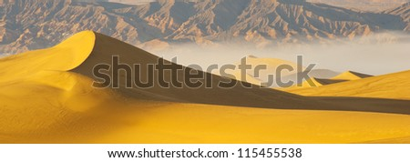 Panorama view of Desert sand dunes - stock photo