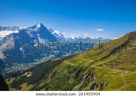 Panorama view of Eiger, Monch and other peaks of swiss alps near Grindelwald, Switzerland - stock photo